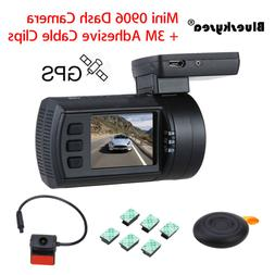 0906 Dual 1080P Lens Car Dash Camera GPS DVR Cam Black +3M A