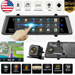"""10"""" 1080P 4G WiFi BT Android GPS Dual Lens Car Rearview Mirr"""