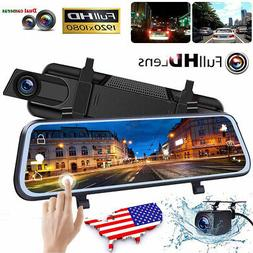 "10"" 1080P FHD Dash Cam Front and Rear Dual Lens Camera Car D"