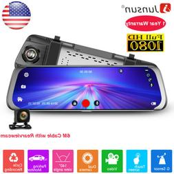 "10"" Junsun Car DVR Dash Cam Camera 1080P Stream Media Rearvi"
