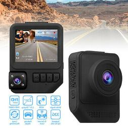 "2.3"" 1080P Dual Lens Dash Cam Front & Rear Car DVR Camera G-"