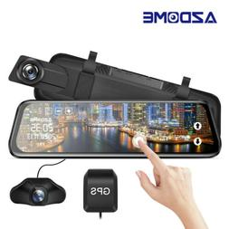 "AZDOME 10"" FHD 1080P Dual Lens Car Dashcam Touching Mirror R"
