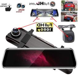 10 inch Dash Cam Car Rear View Mirror DVR HD 1080P Front And