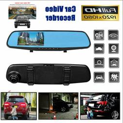 1080P 3.5' HD Car DVR Dash Cam Front and Rear Mirror Camera