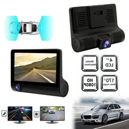 """1080P Car DVR 4"""" 3 Lens Dash Cam Front and Rear Video Record"""