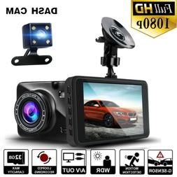 1080P HD Car Dashboard DVR Camera Driving Recorder Dual Dash