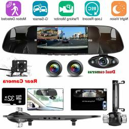 32G Vehicle 3 Lens HD 1080P In Car Rear View Mirror DVR Came