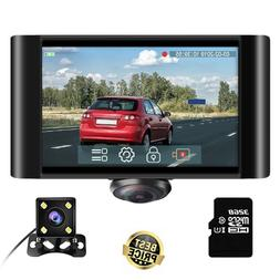 360 Degree Dash Camera Cars 2K Full View, Touch Screen w/ Wa