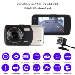 "4"" 1080P 170°Dual Lens Car Dash Cam Front and Rear Camera D"