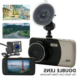 "4"" 1080P Dual Lens Car Dash Cam Front and Rear Camera Dashbo"