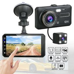 "4"" Touch Screen Car Camera Dual Dash Cam Front & Rear Night"