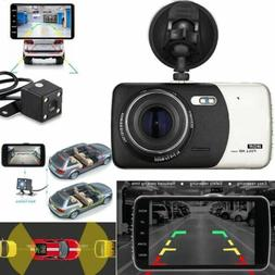 "4"" 1080P170° Dual Lens Car Dash Cam Front and Rear Camera D"