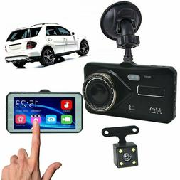 "4"" Dual Dash Cam Front and Rear 1080p HD Car Truck DVR Dashb"