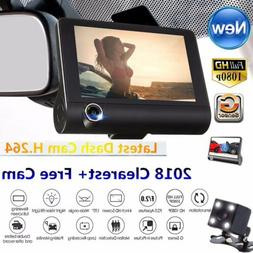 "4"" HD 1080P 3 Lens Car Auto DVR Dash Cam Vehicle Video Recor"