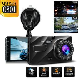 "4"" HD 1080P DVR Dual Lens Camera Dash Cam Microphone Front A"