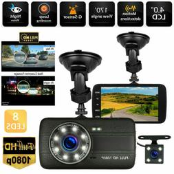 "4""Vehicle Dual Lens Car Camera DVR Video Dash Cam Audio Reco"