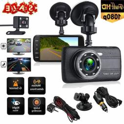 "4"" Vehicle Dual Lens Car Camera DVR Video Dash Cam Audio Rec"