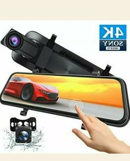 Xeapoms 4K 10'' Mirror Dash Cam Backup Camera for Cars , Fro