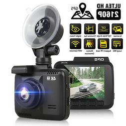 4K 2160P Car Dash Cam Built-In GPS, WiFi ,170 View Angle, G-
