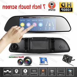 7'' HD 1080P Car DVR Dual Lens Camera Vehicle Rearview Mirro