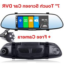 7 inch HD Dual Lens Car DVR Dash Cam Front and Rear Mirror C