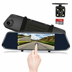 7-Inch Touch Screen Backup Camera Mirror Dash Cam 1080P Fron
