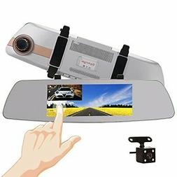 "7 Inch Touch Screen Rearview Mirror Car Camera 7""Dash Car DV"