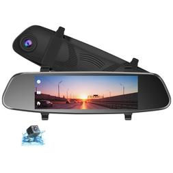 """TOGUARD 8"""" Mirror Dash Cam Front and Rear Touch Screen Rear"""