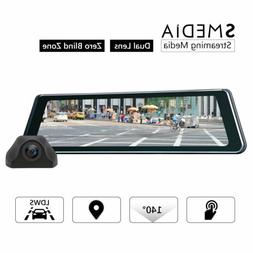 """Front and Back view 9.88"""" IPS Touch Dual Lens Car Dash Camer"""