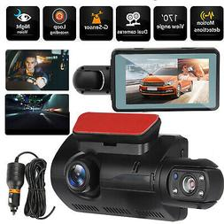 Dual Lens Front & Inside Camera HD Car DVR Dash Cam Video Re