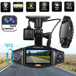 Dual Lens HD Car DVR Camera Dash Cam Video Recorder G-Sensor