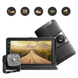 "AHD 1080P Car Backup Dash Camera System 7"" Quad Record DVR M"