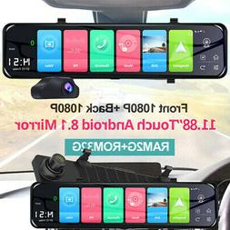 Android 8.1 12inch Car DVR GPS Navigation Rearview Mirror 10