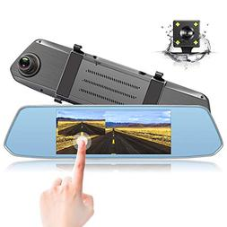Trohestar Backup Camera, Mirror Dash Cam 7 inch Touch Screen