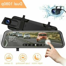 "TOGUARD Backup Camera 10"" Mirror Dash Cam Dual Lens Streamin"