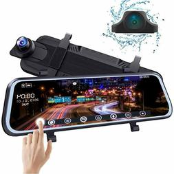 """Backup Camera 10"""" Mirror Dash Cam Front and Rear Full Touch"""