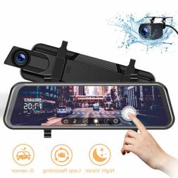 "TOGUARD Backup Camera 10"" Mirror Dash Cam Dual Full Touch Sc"