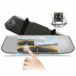 """Backup Camera 7"""" Mirror Dash Cam Touch Screen 1080P Rearview"""