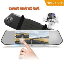 "TOGUARD Backup Camera 7"" Mirror Dash Cam Touch Screen 1080P"