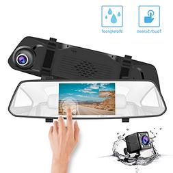 """CHICOM Backup Camera 5"""" Mirror Dash Cam with Touch Screen,10"""