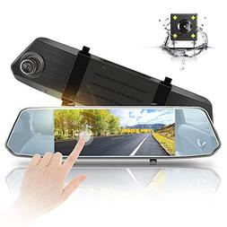 "Aoxun Backup Camera 7"" Mirror Touch Screen - 1080P Car Dash"