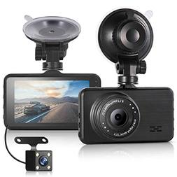 ULU Car Dash Cam 1080P Front and 720P Rear 290°Dual Lens Su