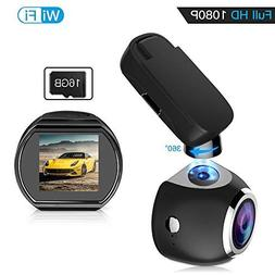 Car Dash Cam WiFi FHD 1080P Car Dash Camera Mini 360 Degree