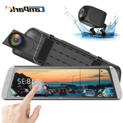"Campark Mirror Dash Cam 10"" Backup Camera Video Streaming Re"