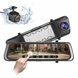 Car Mirror Dash Cam Rearview Mount HD 10 inch Vehicle Electr