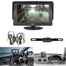 "Car Wireless 4.3"" TFT LCD Dash Monitor Backup Camera Rear Vi"