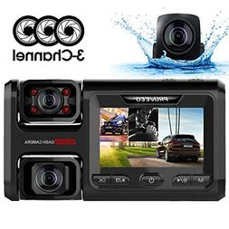 Pruveeo D40 Three and Dual Channel Dash Cam, Front Inside an