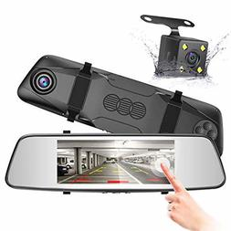 Pruveeo D700 7-Inch Touch Screen Backup Camera Dash Cam Fron