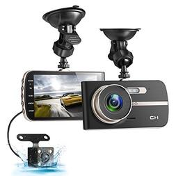 Dash Cam, EIVOTOR 1080P HD Dual Channel Dashboard Cameras Fr