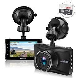 SharkMall Dash Cam with 32GB Card, 1080P Dash Camera for Car